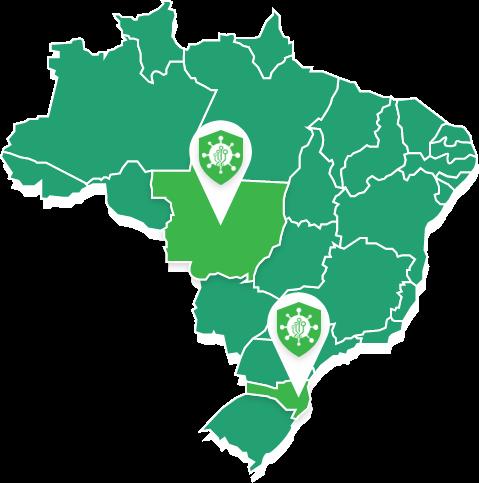 Mapa do Brasil com estados que estão utilizando o Corona-dados